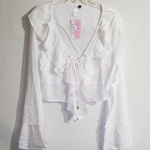 NWT White lace up crop top